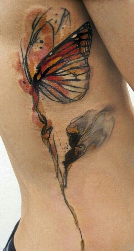 Watercolor Flower Moth Tattoo My Precious Ink: Butterfly Watercolor Tattoo On Rib Side For Woman (con