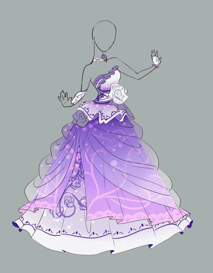 Pink Flower Ballgown Drawings Art Clothes Dress Drawing