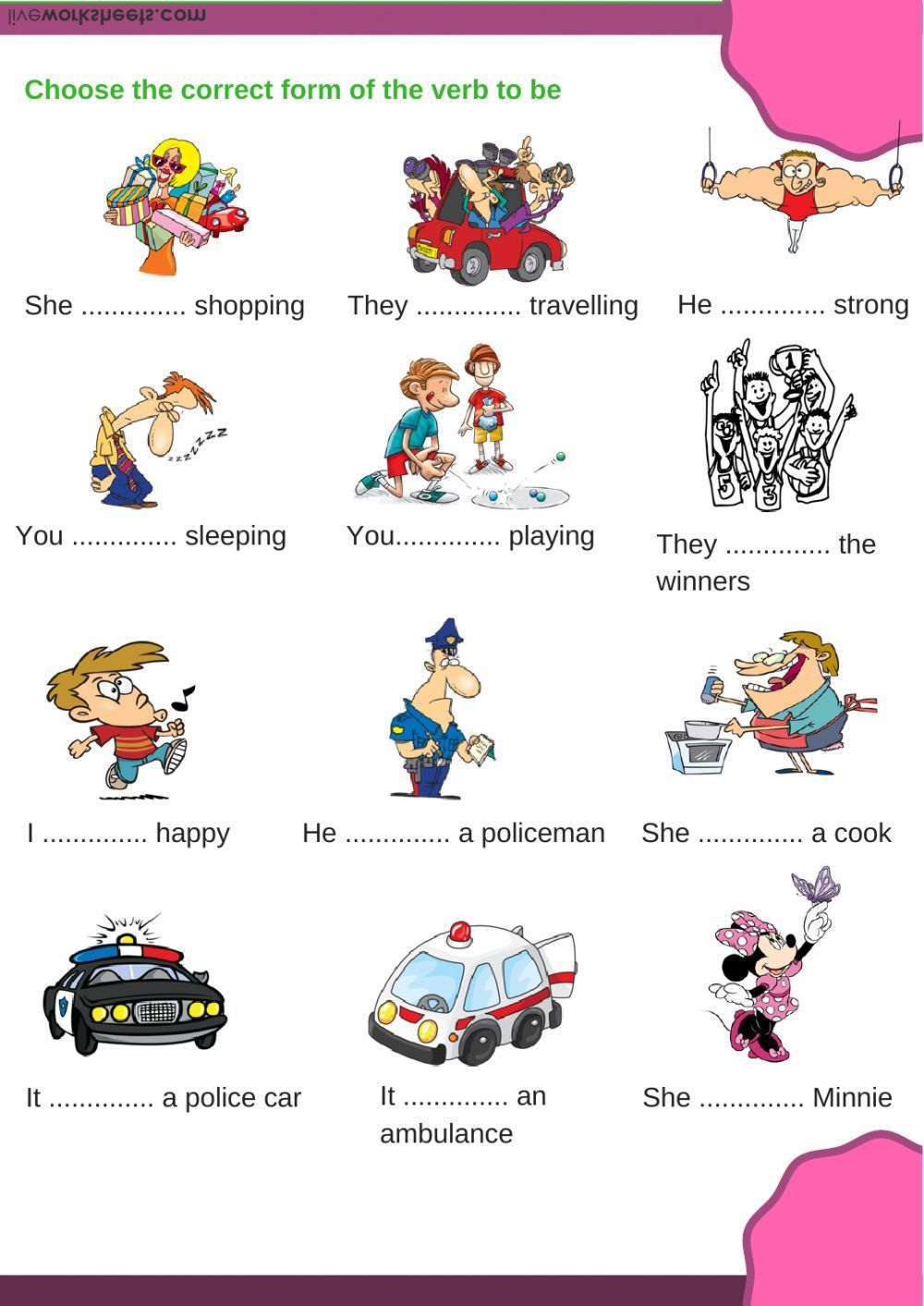 Verb to be worksheet. You can do the exercises online or