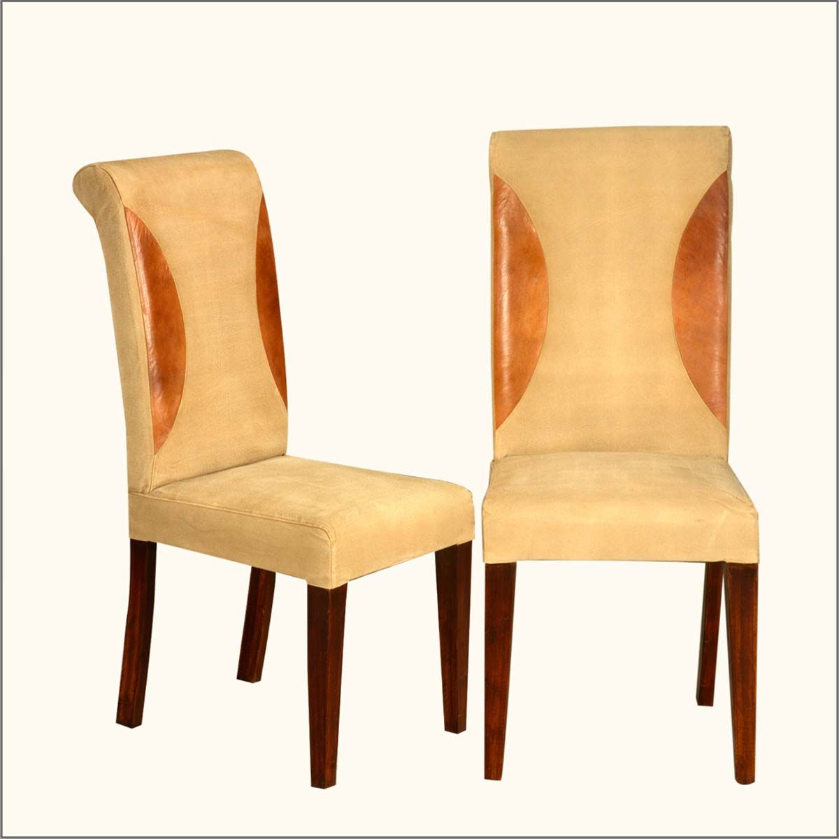 Superieur Leather U0026 Solid Wood Straight Back Parson Dining Chair Set Of 2