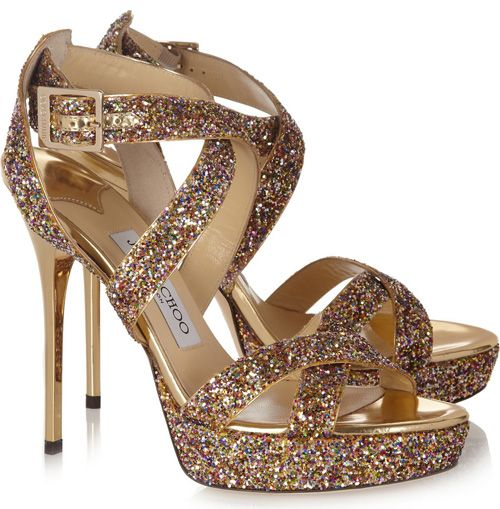 Vamp Glitter Finished Leather Sandals from Jimmy Choo