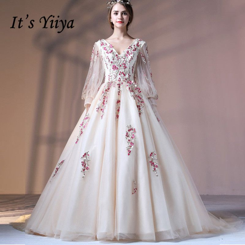It s Yiiya V-neck Illusion Floral Tulle Flower Backless Lace Up Elegant  Evening Dress Floor Length Party Gown Evening Gown LX044 a937bc111de0
