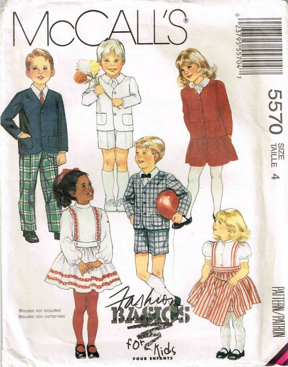 Sewing Pattern Children Jacket Pants Skirt Short McCalls 5570 Child ...