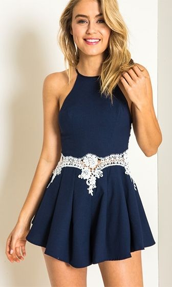 ae7dee54967a Boardwalk Beauty Navy Blue White Spaghetti Strap Halter Cut Out Sides Lace  Waist Short Romper