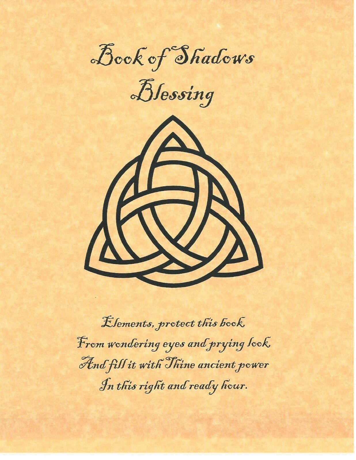 Book Of Shadows Spell Pages Blessing Page Triquetra Wicca Witchcraft Bos Ebay Wiccan Spell Book Book Of Shadows Charmed Book Of Shadows