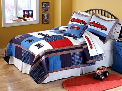 New - Cars Full / Queen Quilt with 2 Shams by Pem America by Pem America. $129.99. Hand crafted set includes 1 full/queen quilt (86x86 inches) and 2 standard shams (20x26 inches). Face cloth is prewashed 100% natural cotton. Fill is 94% cotton / 6% other fibers. Hand crafted with embroidery. Machine Washable. Made in China.