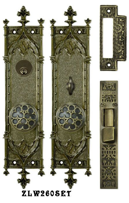 Victorian Amiens Gothic Doorplate Entry Set Reproduction Antique