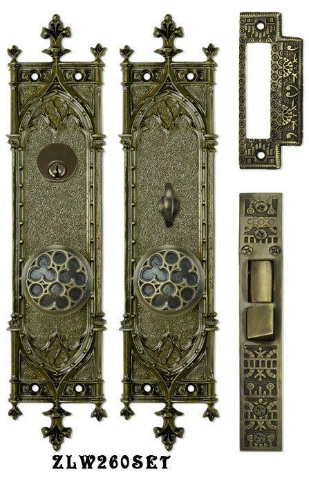 Victorian Amiens Gothic Doorplate Entry Set Reproduction Antique . - Victorian Amiens Gothic Doorplate Entry Set Reproduction Antique