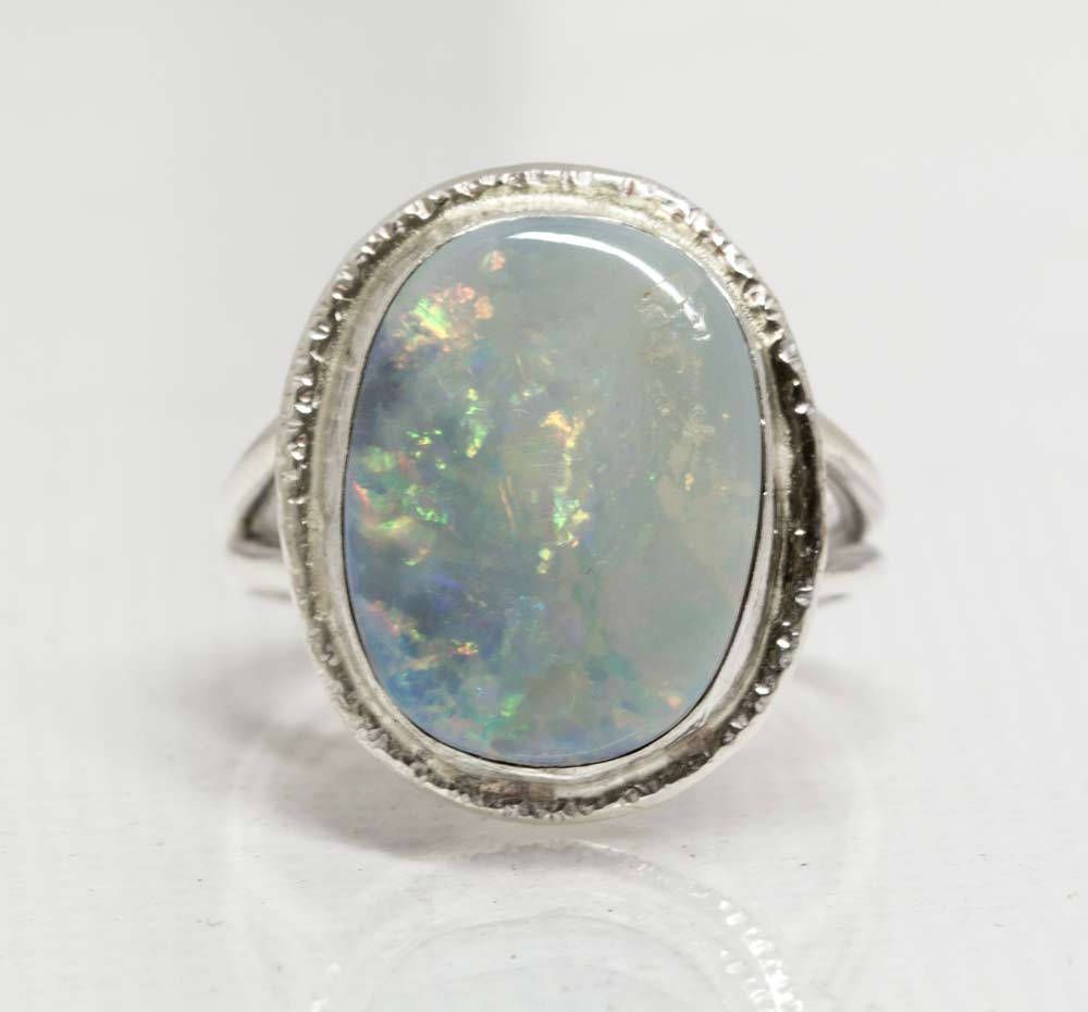 Opal Doublet Ring in Sterling Silver Statement Ring Handcrafted by SilverSpiral1 on Etsy