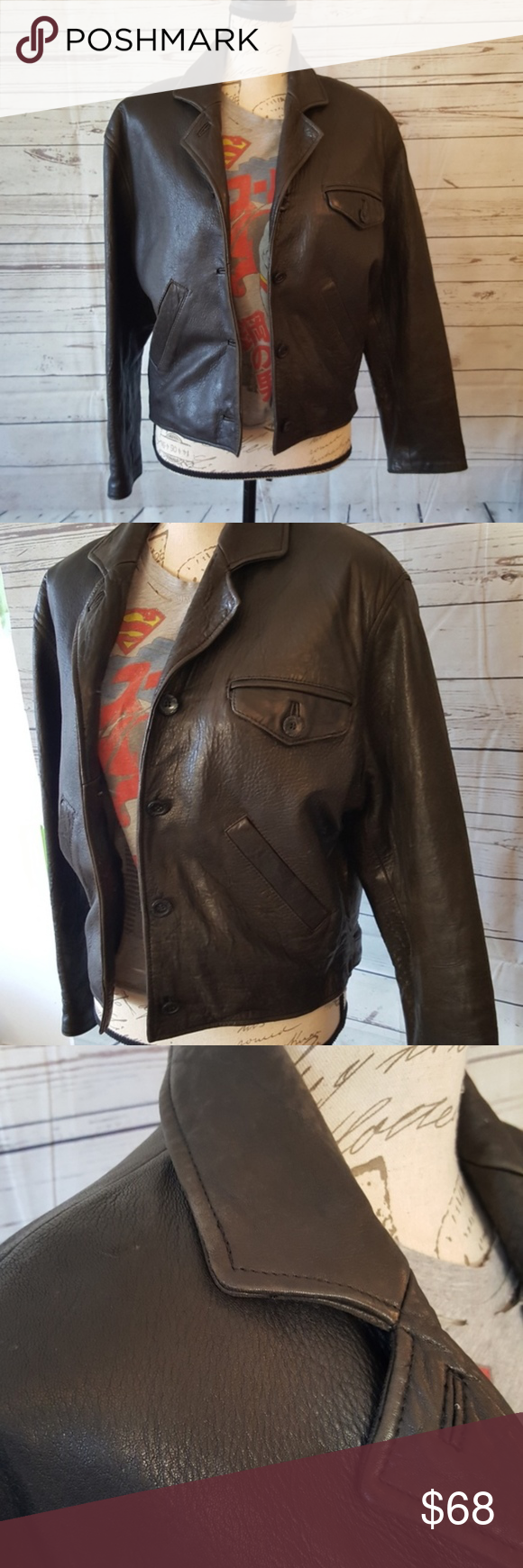 Vintage genuine black leather bomber jacket Black