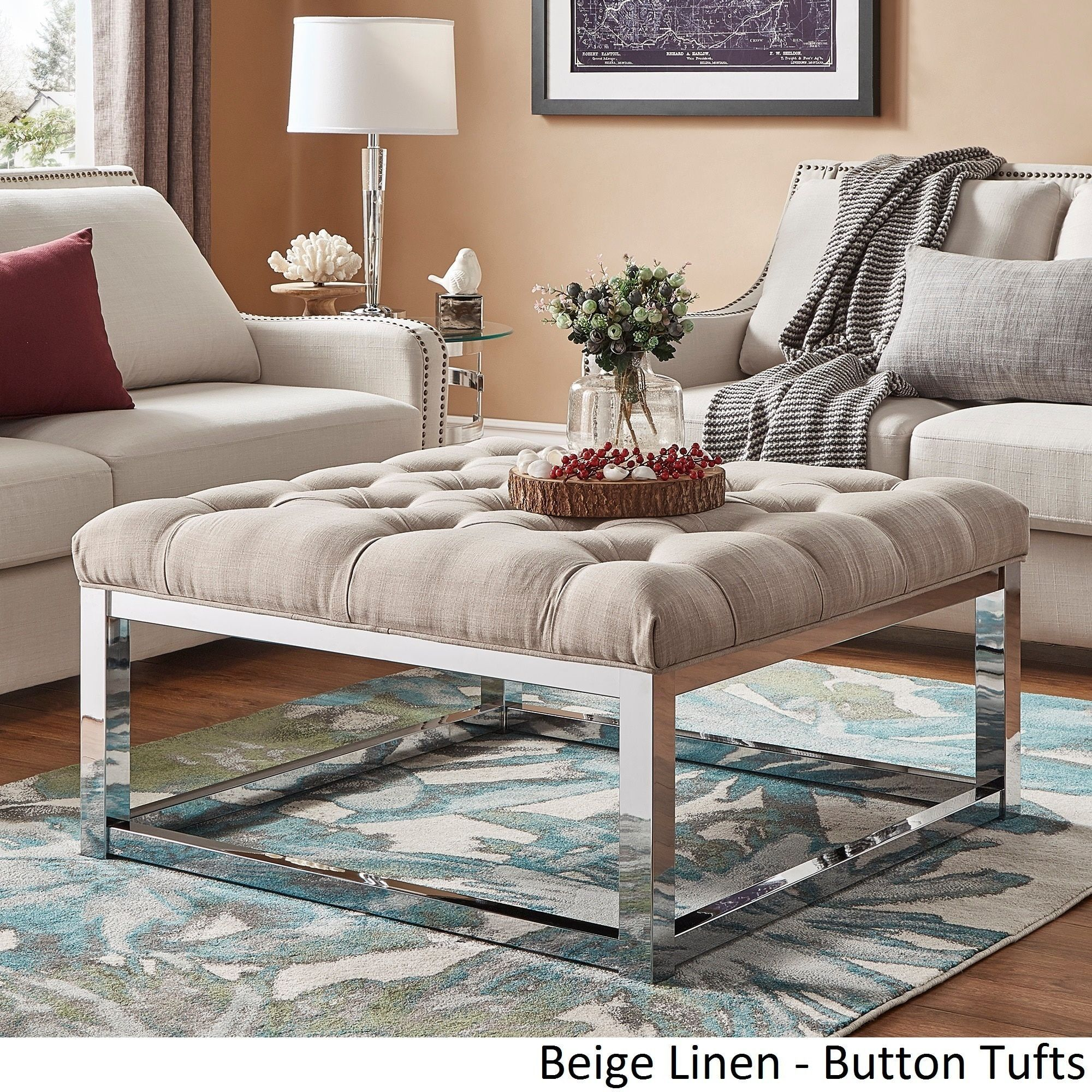 Solene Square Base Ottoman Coffee Table Chrome by Inspire Q