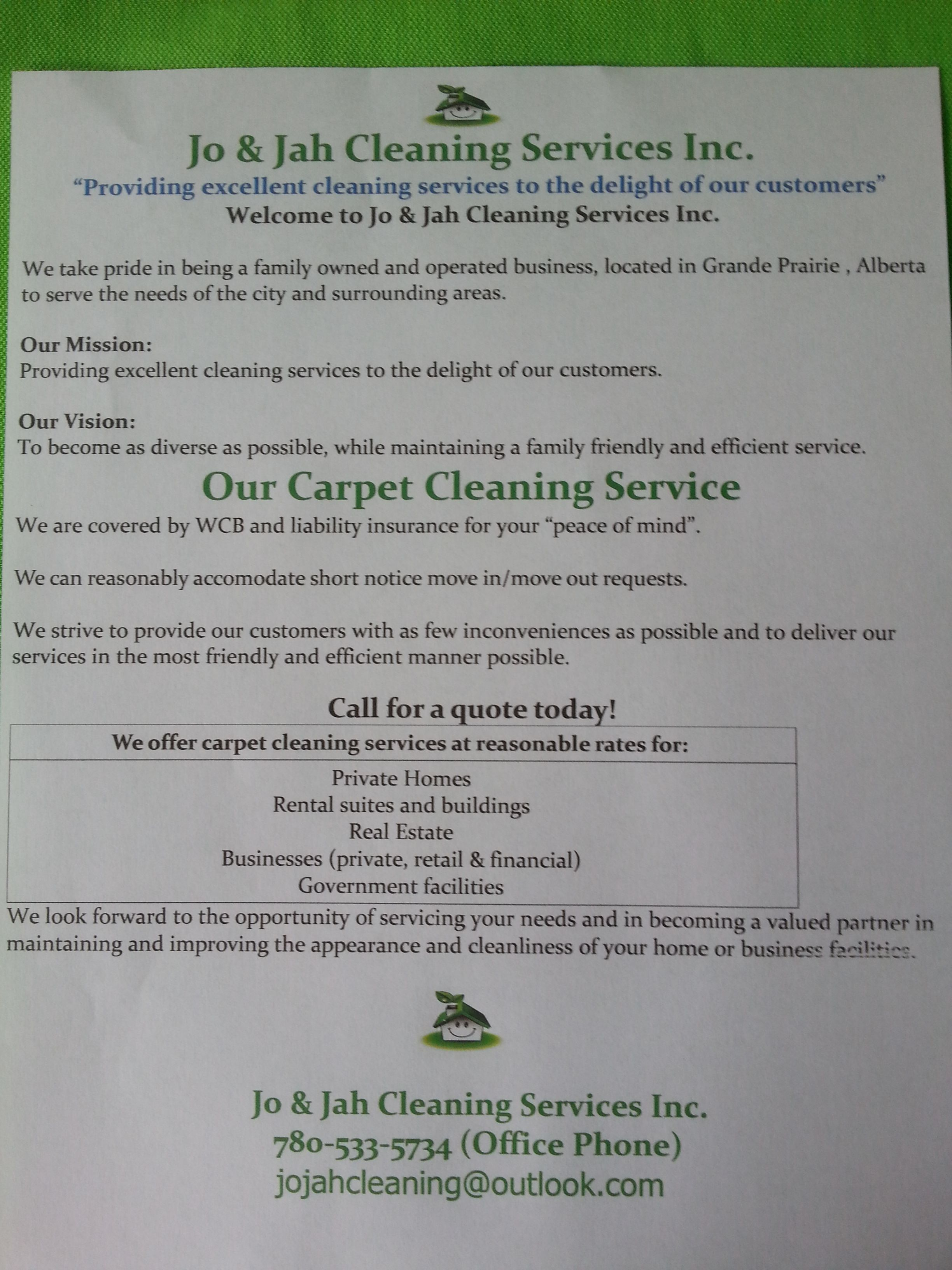 Jo Jah Cleaning Services Inc Our Carpet Cleaning Service