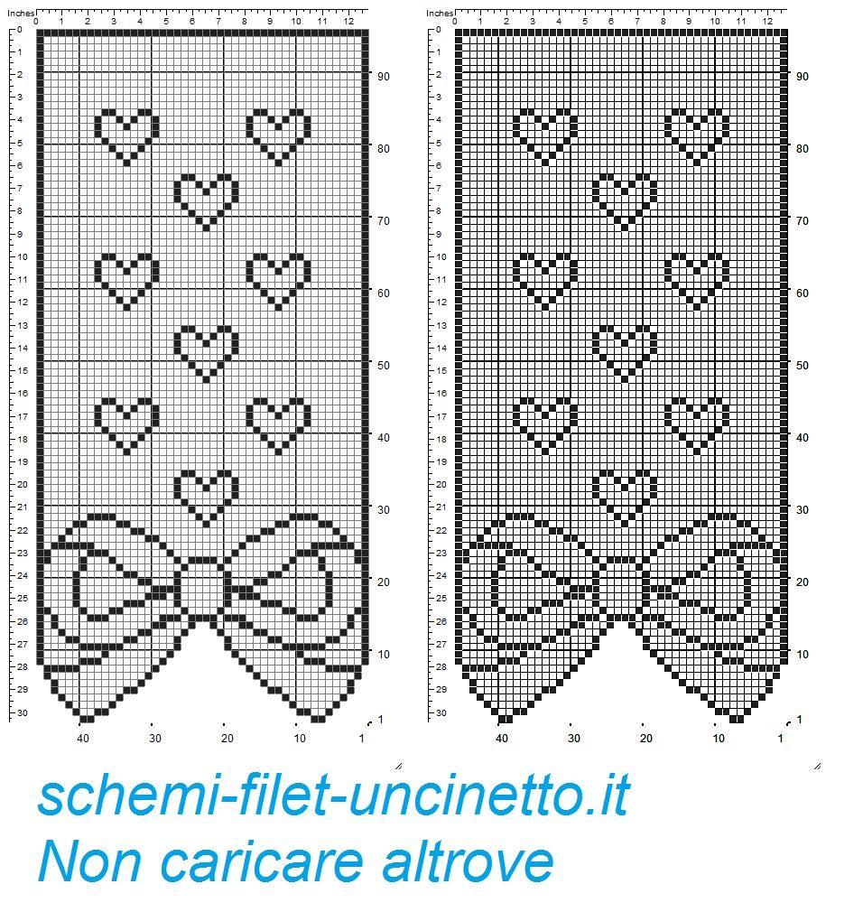 Tenda Con Fiocco E Cuoricini Filet Uncinetto Gratis Schemi Filet