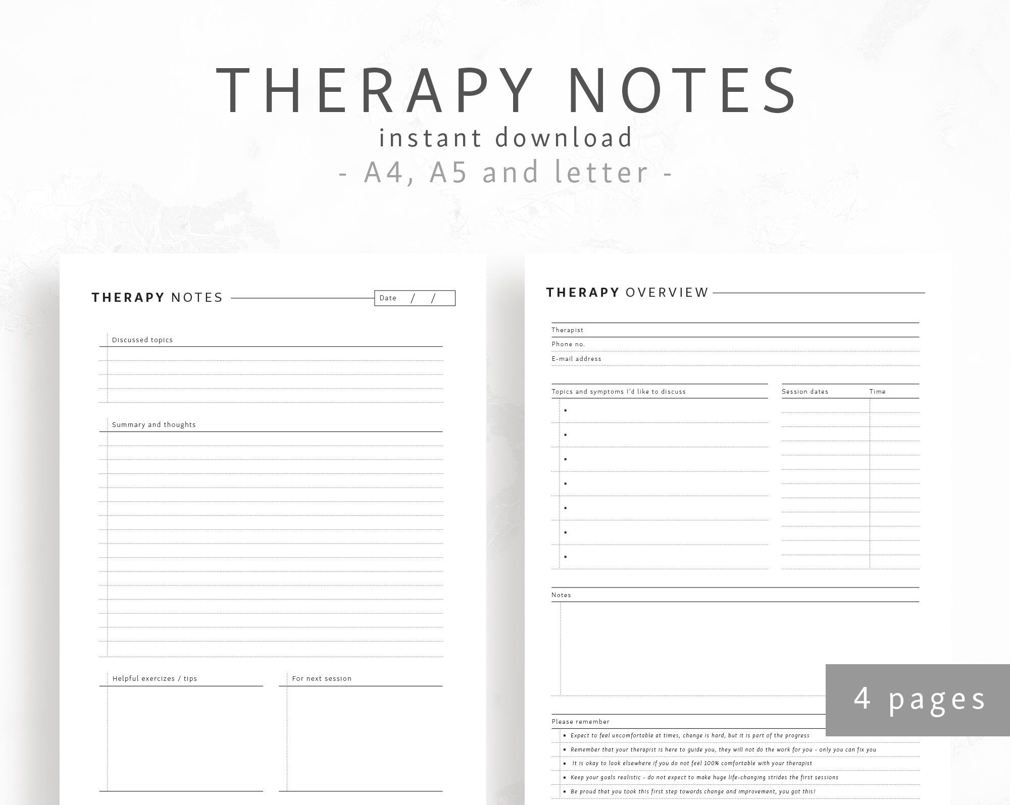 Therapy Notes A5 A4 Letter Pre Therapy Session Printables