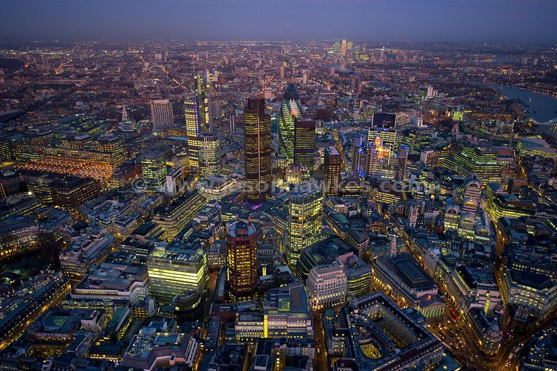 Aerial View Over The City Of London At Night London Night London City Aerial View