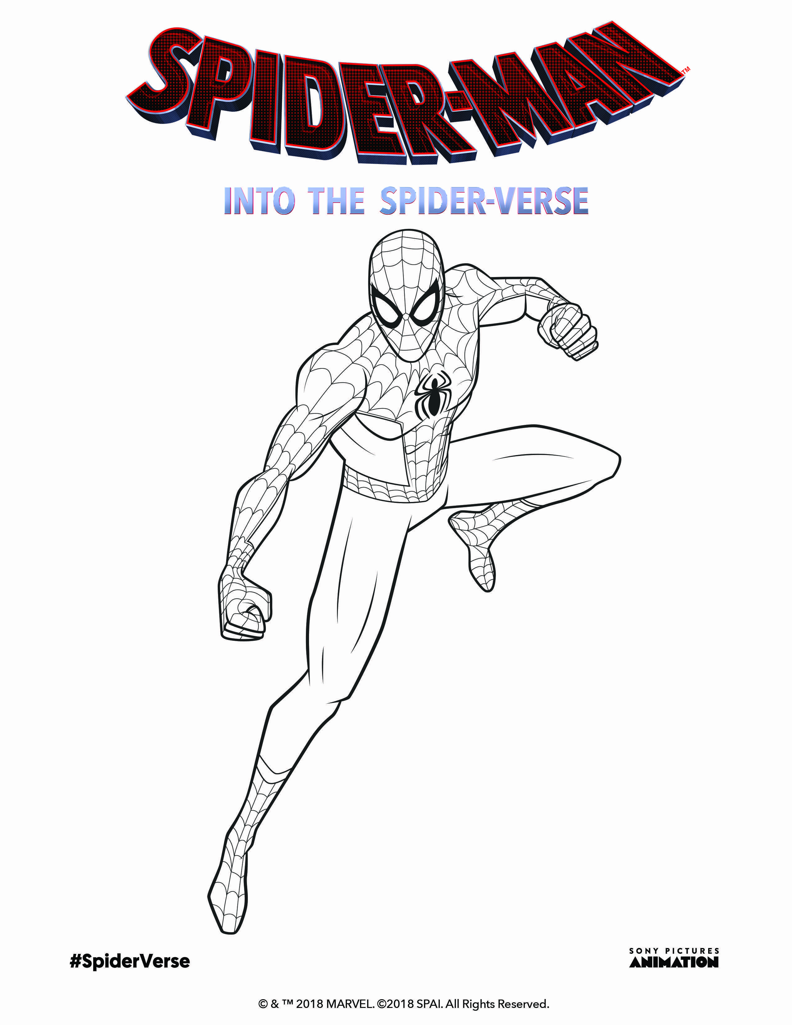 Enjoy Coloring Peterparker From Spiderman Into The Spiderverse In Theaters 12 14 18 Spider Verse Coloring Pages Cartoon Coloring Pages