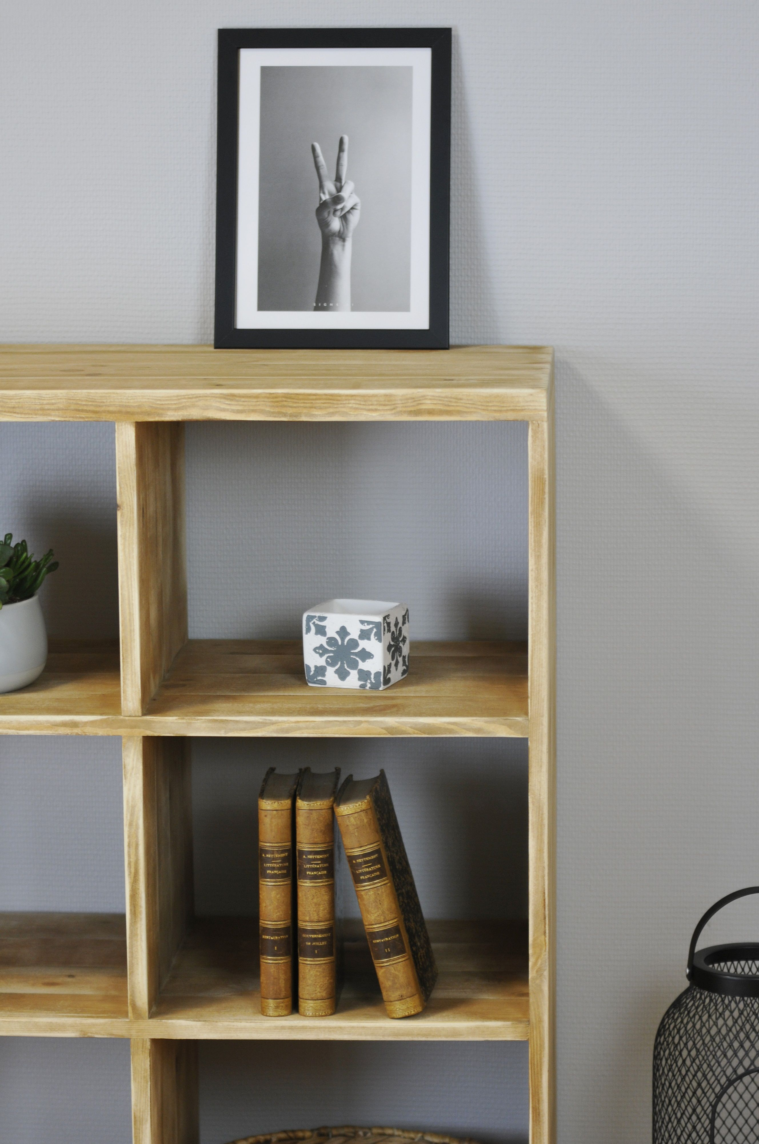 Meuble Aspect Vieilli Open Shelf 9 Lockers Solid Wood Aged Rustic Finish In 2019