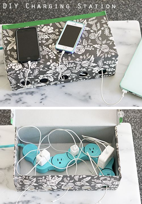 Cut cord clutter and power up all your electronic devices in one spot with this stylish DIY charging station made out of a simple shoe box! || Rita and Phill specializes in custom skirts. Follow Rita and Phill for more chic cubicle images. https://www.pinterest.com/ritaandphill/the-chic-cubicle