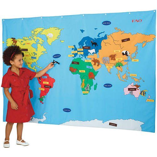 Big World Map FAO Schwarz included removable fabric pieces to label - best of world map with countries and continents