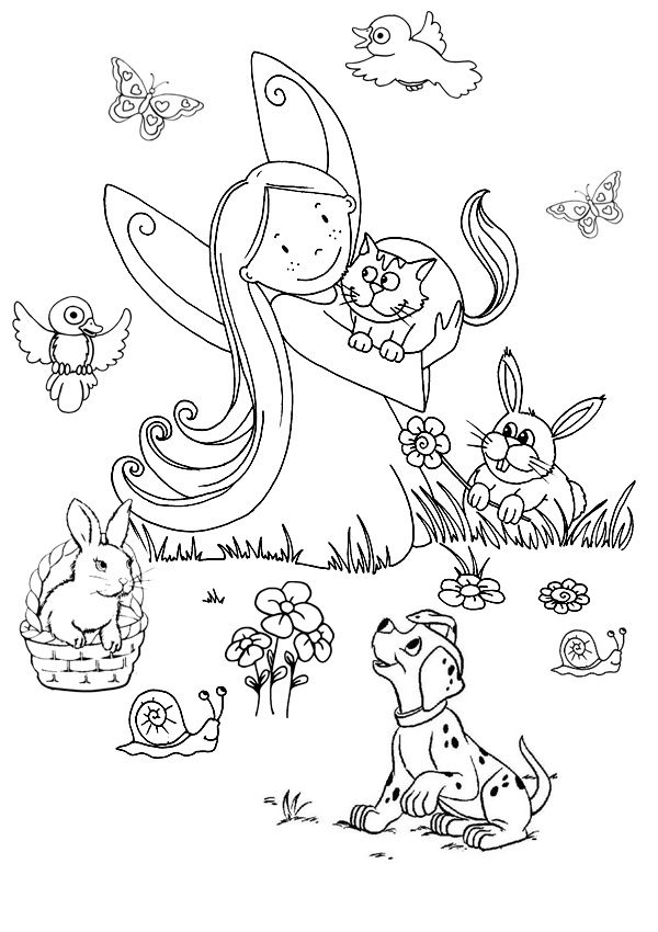 Free Online Printable Kids Colouring Pages - The Animal Fairy ...