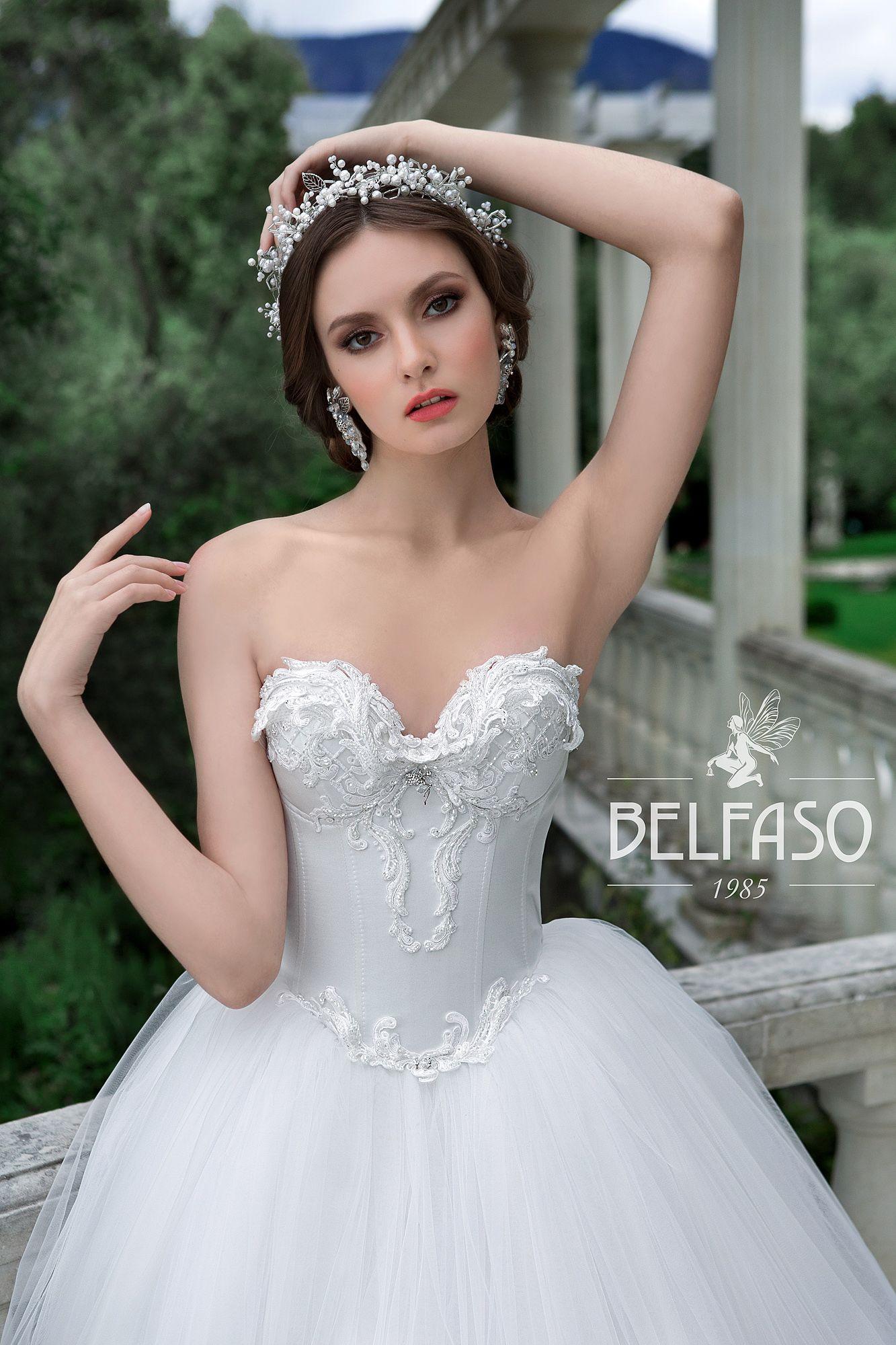 2 piece crop top wedding dress  LILU wedding dress by BELFASO ONLY at Charmé Gaby Bridal Gown