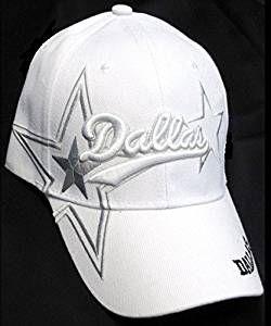 dfc1db95f  9.99 Dallas Cowboys White Hat Cap Script Visor Embroidered Signature  Double Star Logo