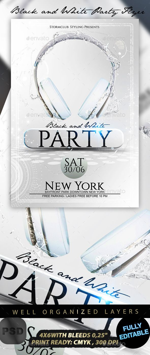 Black and White Party Flyer. Print-templates Flyers Events. To help ...