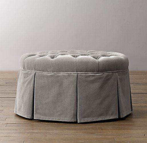 Linen Skirted Ottoman Google Search With Images Round Tufted