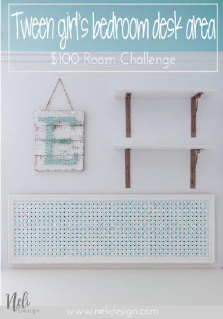 A new desk area / $100 Room Challenge / Week 3 Diy pins, Desk