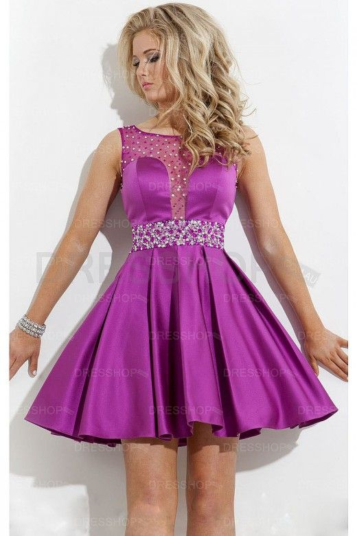 Satin Bateau Empire Short A-line Party Dresses – Party Dresses ...