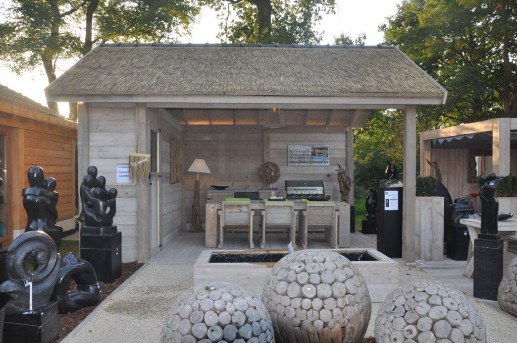 Tuinhuis model half open met kunstrieten dak tuinhuizen prieelen afsluitingen - Prieel tuin ...