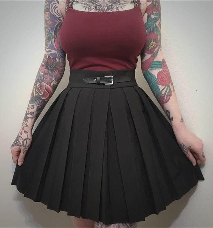 e0eedd99fd7d High Waist Pleated Skirt with Buckle in 2019 | Harajuku style | High ...