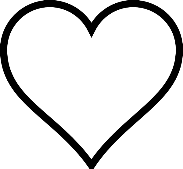 Line Art Heart Outline : Heart stencil plain clip art vector