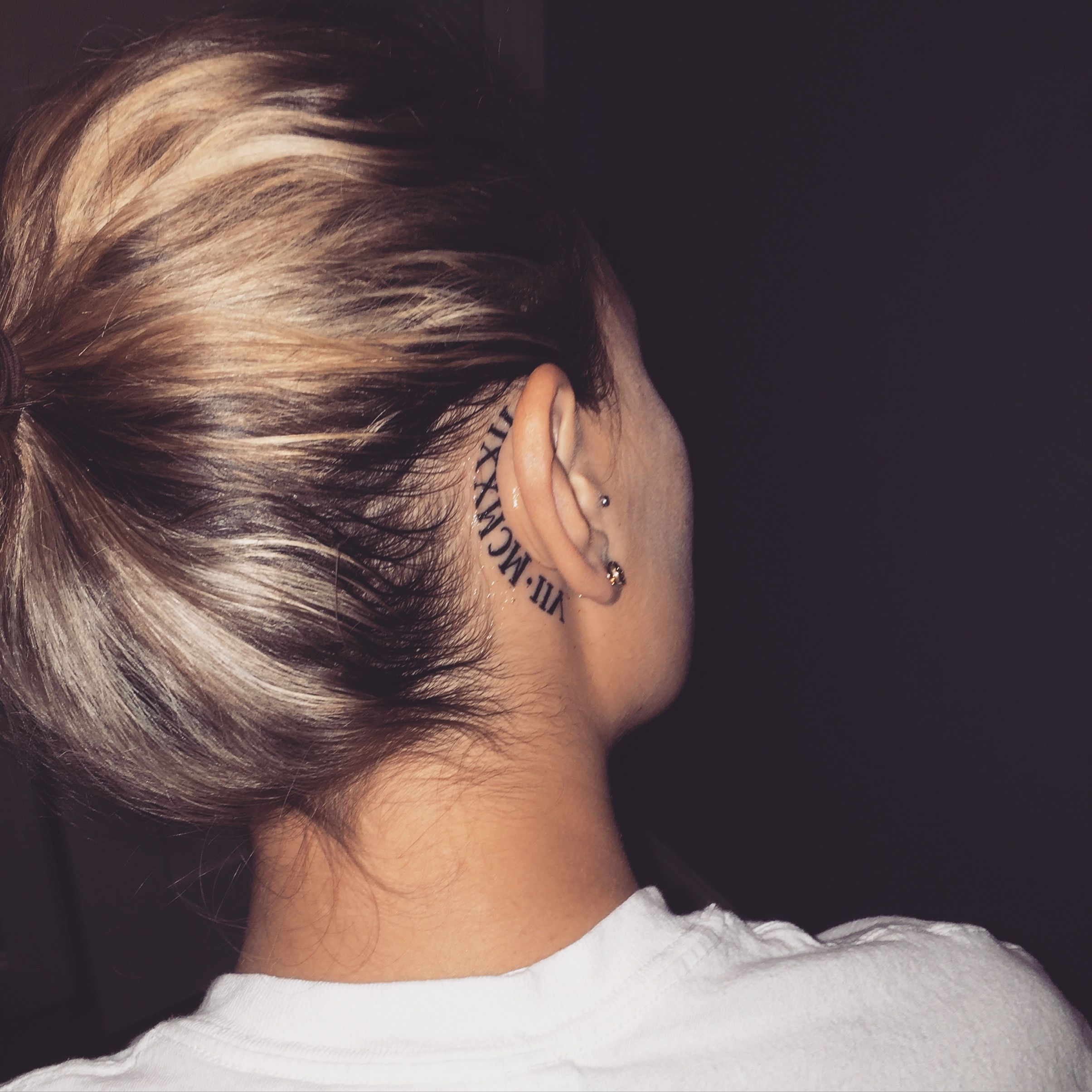 Behind ear tattoos purple hearts pinterest tattoo for Small behind the ear tattoos for girls