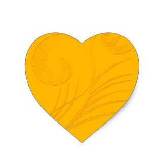 Yellow grass fronds heart sticker