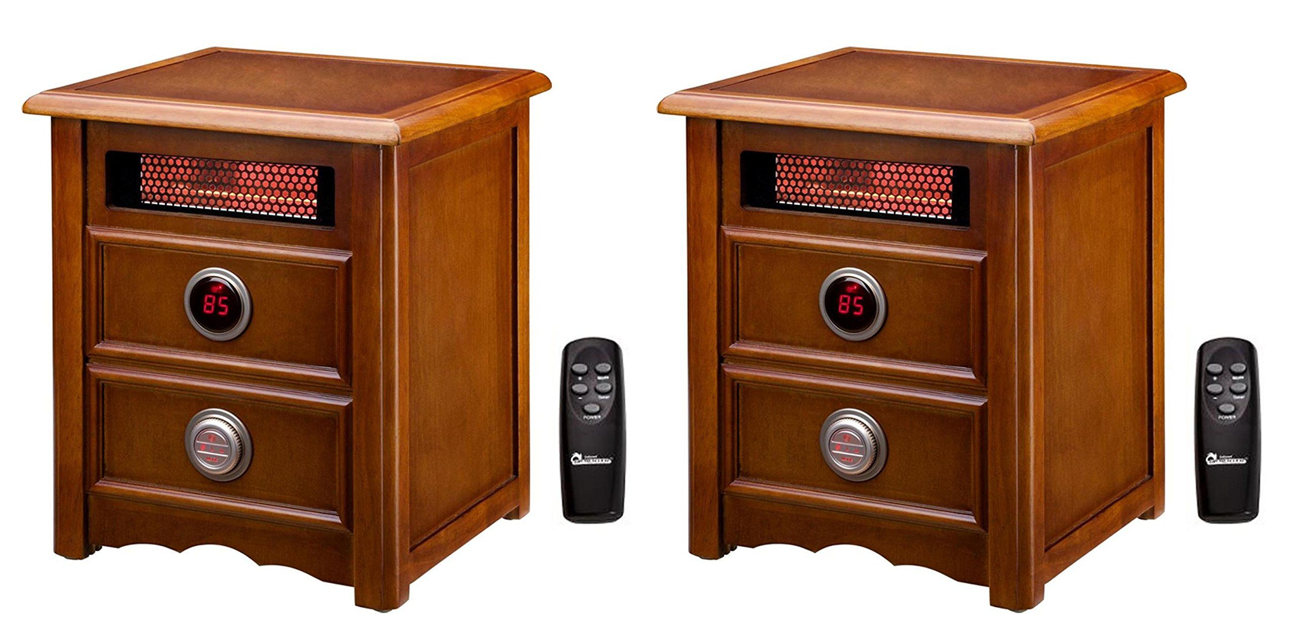 Dr infrared w electric cherry nightstand space heater with