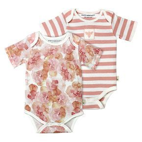 Burt's Bees Baby Infant Girls' 2 Pack Bodysuit - Floral/Striped