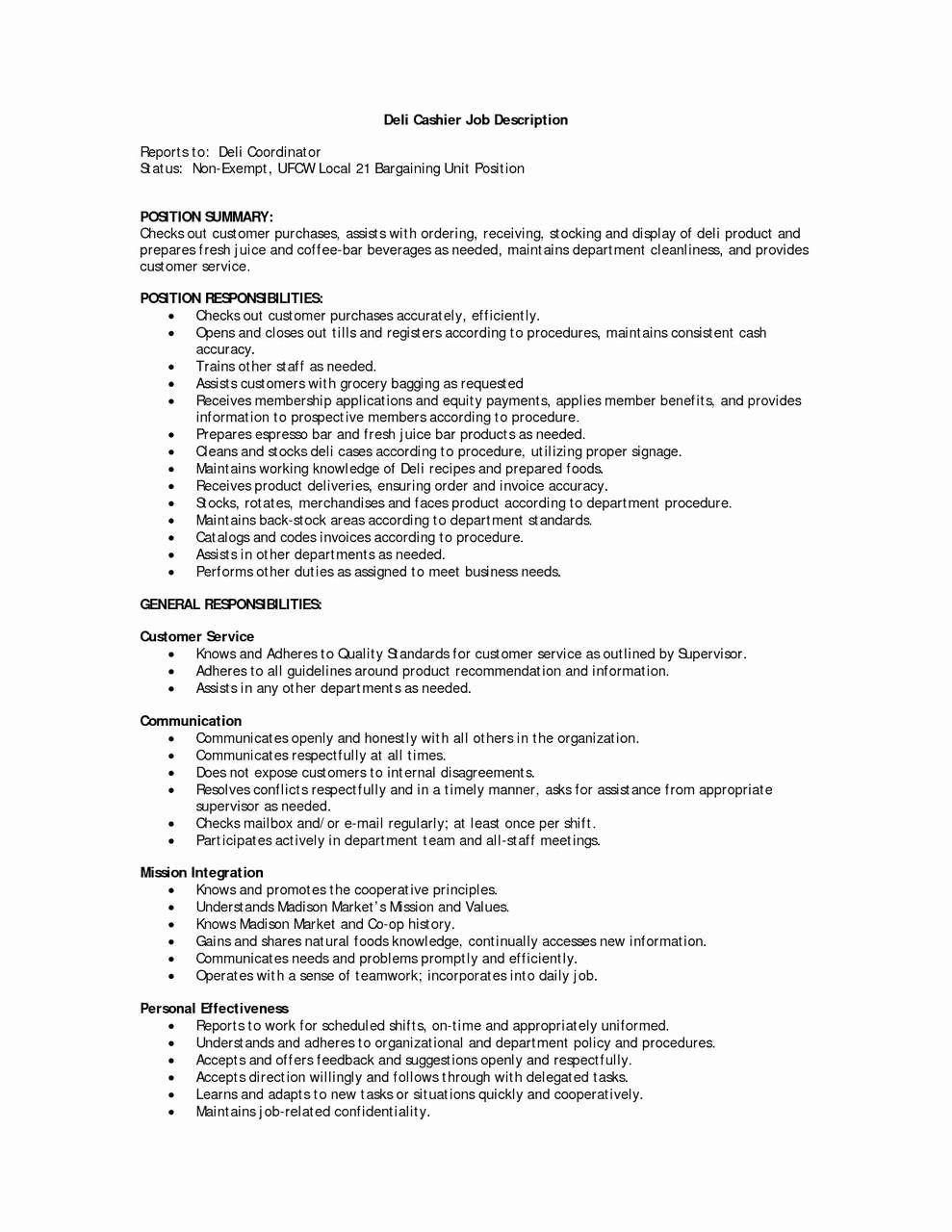 Food Service Worker Job Description Resume Fresh 73 Beautiful Resume Sample For Cashier In Fast Food Resu Customer Service Resume Job Description Server Resume