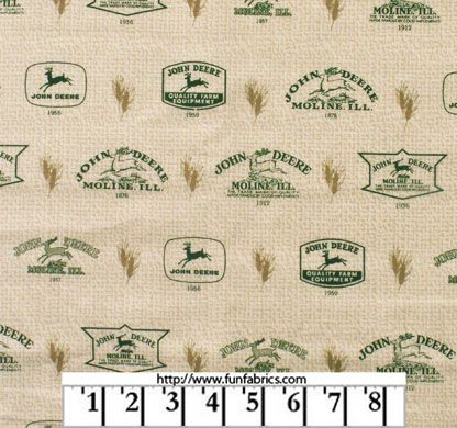 John Deere Logos And Wheat Fabric 7 49 Quilting Sewing
