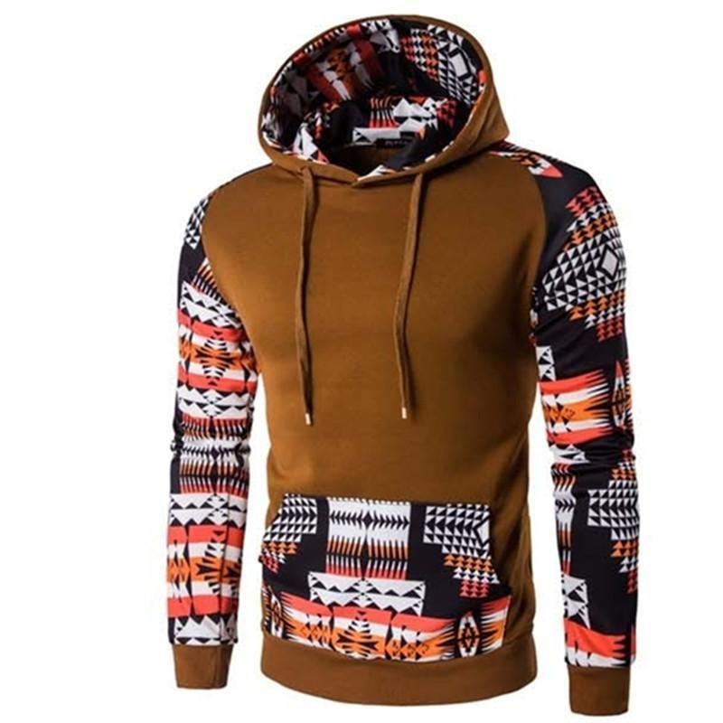 Aztec Print Zip Up Hoodie//Hooded Sweatshir Unisex Long Sleeve Pockets Polycotton