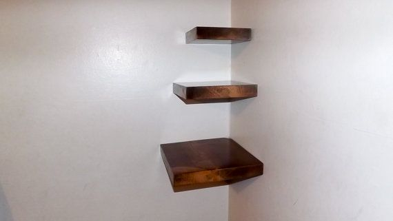 3 Piece Set Square Floating Corner Shelves With Dark Walnut Stain Handmade In The Usa Floating Corner Shelves Square Shelf Shelves