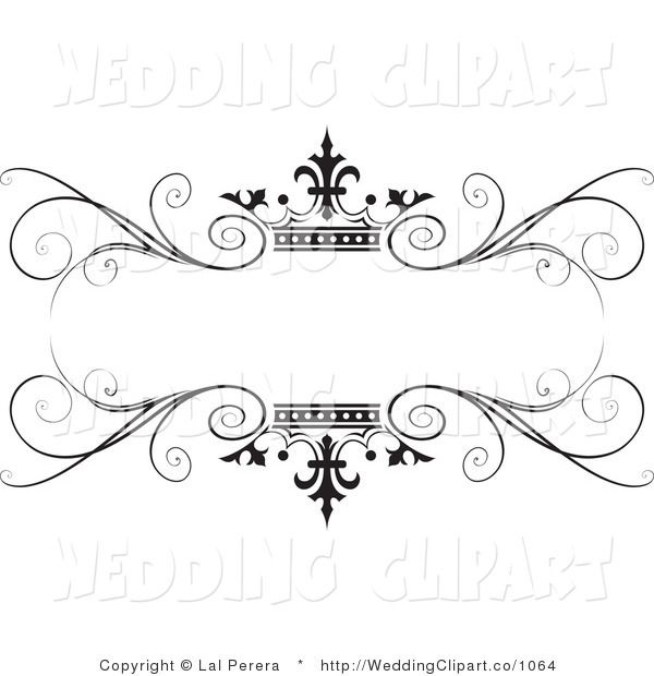 Wedding Hair Style Black Vector Art: Vector Marriage Clipart Of A Wedding Ornate Black Swirl