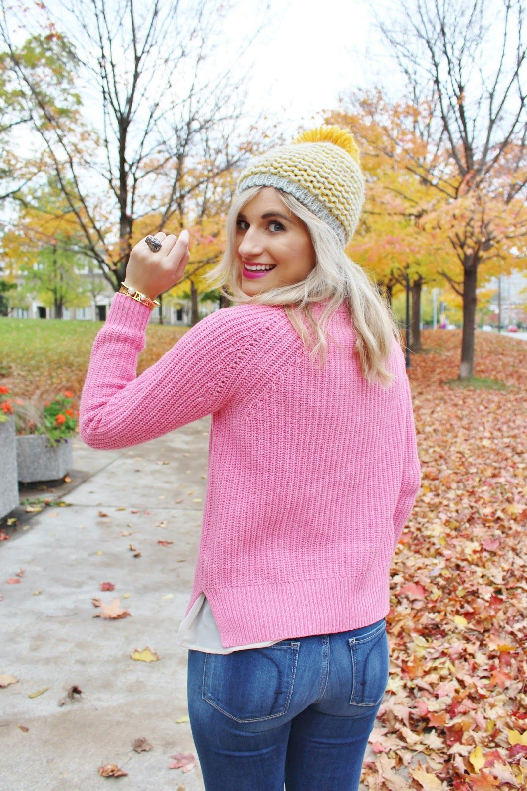 Bijuleni - Fidelity Denim skinny jeans, pink J.crew sweater, plaid blanket scarf, keds sneakers and leopard clutch ootd