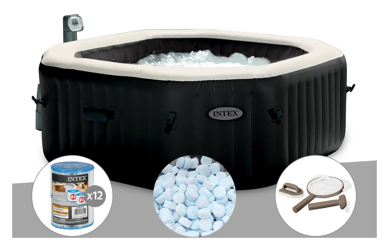 Spa Gonflable Purespa Octogonal Bulles Jets 4 Places Intex