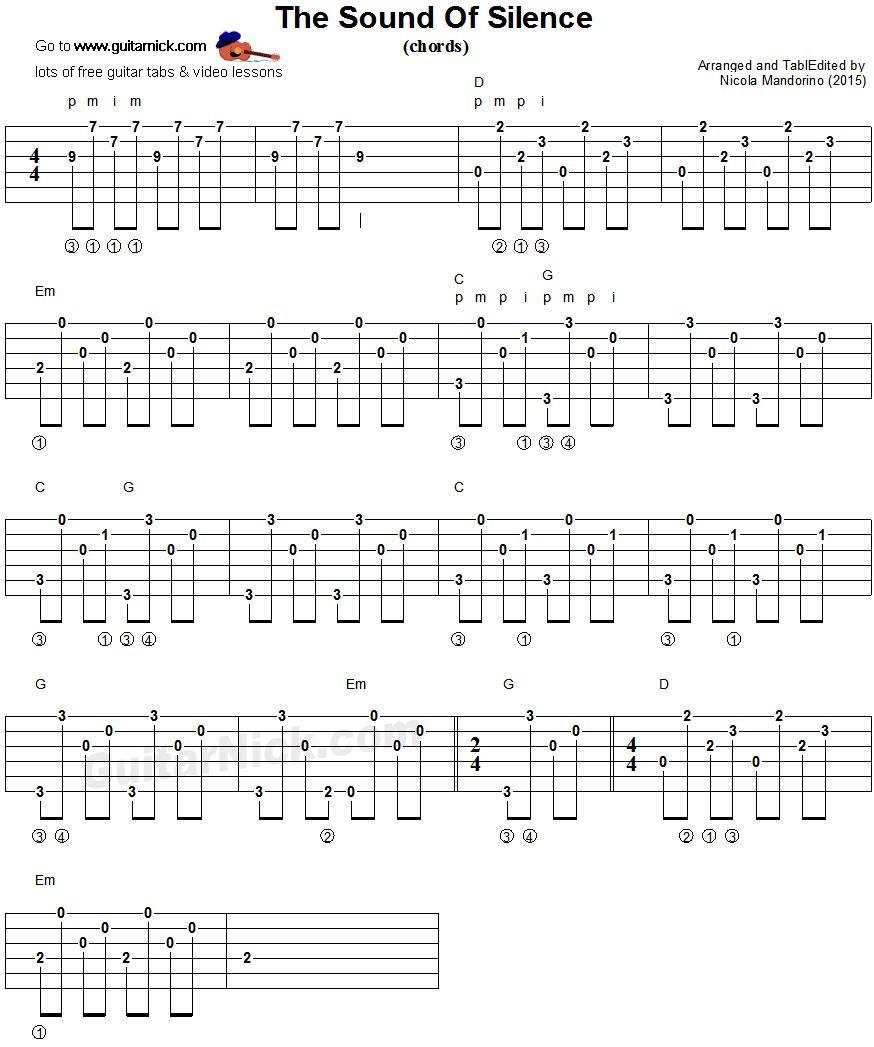 The Sound Of Silence Guitar Chords Arpeggio Guitar Pinterest