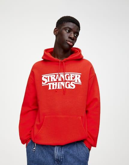 Sudadera Azul Print Contraste In 2020 Hoodies Stranger Things Hoodie Sweatshirts