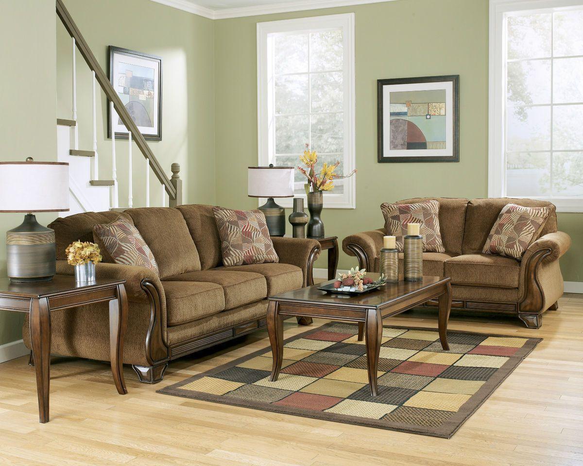 Ashley Living Room Furniture Sale | Ashley Furniture Montgomery Mocha  Living Room Sofa Set Loveseat 38300