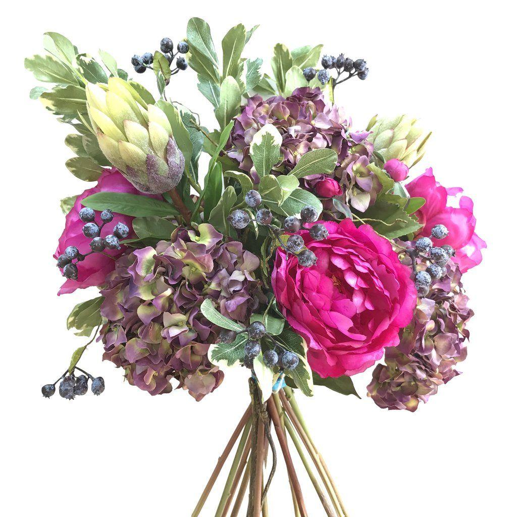 Luxury Artificial Fake Silk Flowers Hydrangea Peony Protea Berry Bouquet Lifelike Realistic Faux Flowers Artificial Silk Flowers Hydrangea Purple Silk Flowers