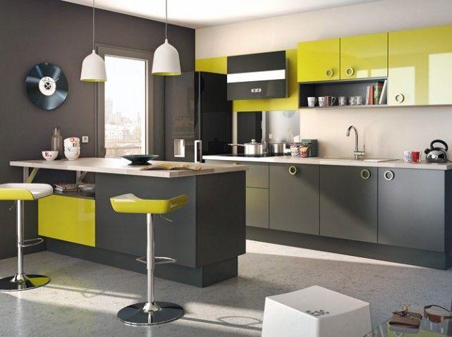 Decoration cuisine gris et jaune look cuisine - Cuisine jaune et gris ...