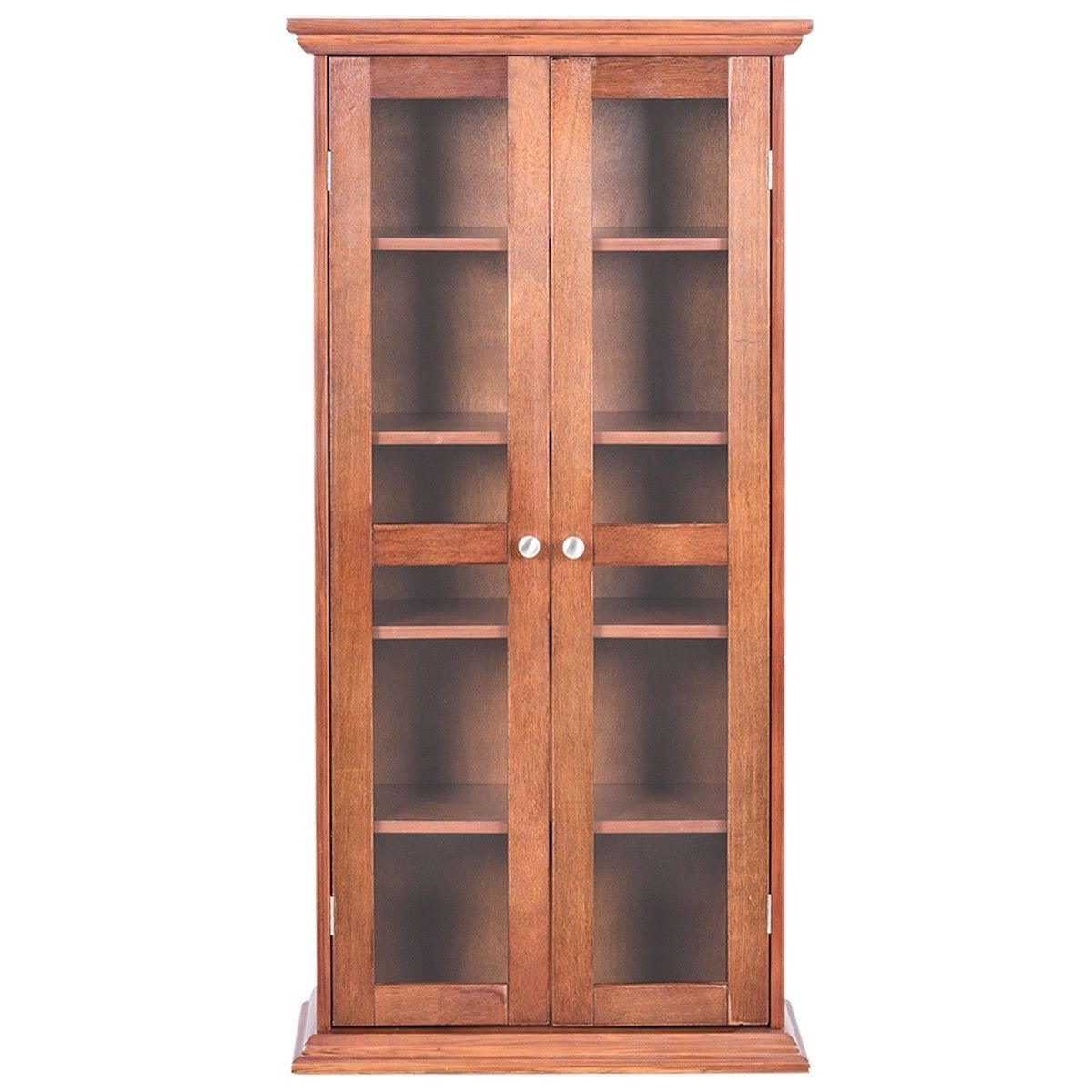 Wood Media Storage Cabinet Cd Shelves With Tower Gl Doors